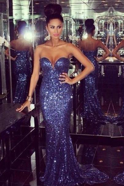 Ulass Bling Bling Sweetheart Mermaid Chapel Train Dark Blue Sequins 2016 Prom Dress Long Prom Gowns On Sale Pageant Gowns Party Dress