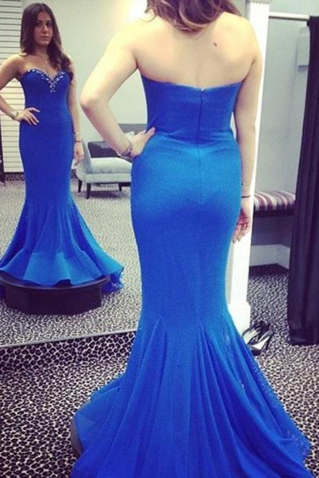 Ulass Off the Shoulder Blue Mermaid Evening Dresses Sweetheart Sleeveless Backless Beads Elegant Satin Sweep Train Formal Dress 2016