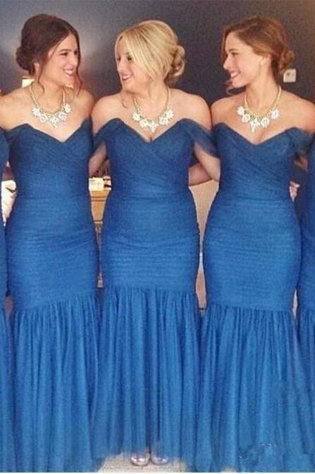 Ulass Cheap 2016 New Blue Off-Shoulder Bridesmaid Dresses Sweetheart Sheath Floor-Length Pleat Long dress