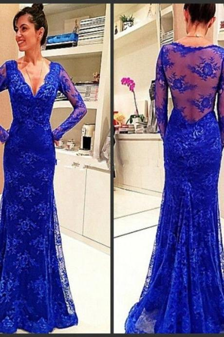 Ulass Elegant Blue Mermaid Evening Dresses Deep V Neck Cap Full Sleeve With Sheer Back Lace Floor-Length Long Formal Evening Gown 2016