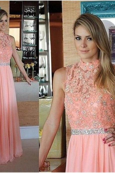 Ulass Evening-Dresses-Applique-Beading-Pink-High-Neck- A-Line-Floor-Length-Sleeveless-Evening-Gowns-Custom-Made