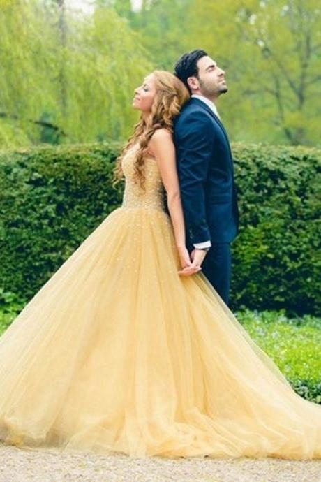 Ulass Velvet-Beautiful-Long-Yellow-Prom- Dresses-2016-with-Crystal-Tulle-vestidos-de- formatura-galajurken-ballkleider