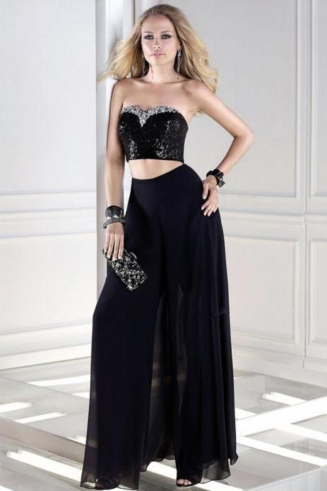 Ulass Sexy BacklessSparkly Black Long 2 Two Piece Prom Dresses with Stones 2016 New Style Prom Dresses