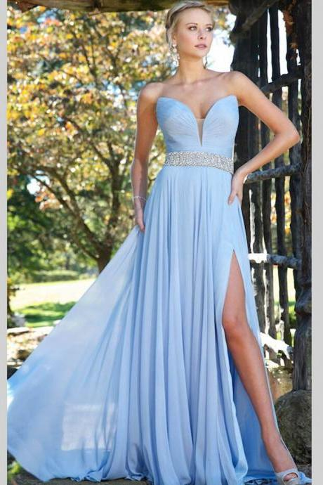 Ulass Sexy Sky Blue Long Elegant Prom Dresses A Line Chiffon Side Split Evening Dresses