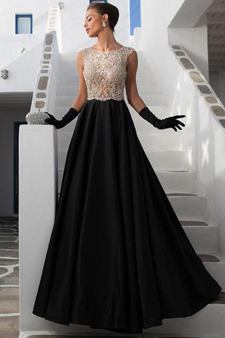 Ulass Elegant Beading Tank A Line Long Prom Dresses With Crystals 2016 Formal Dresses