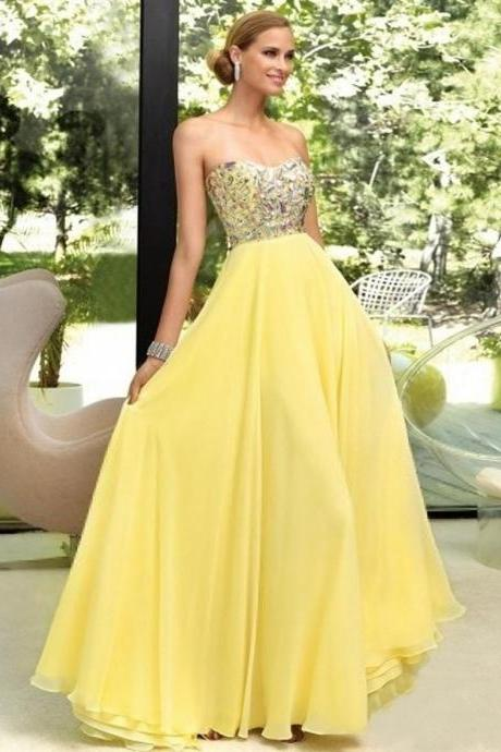 Ulass Sexy Crystal Chiffon Beaded Long Elegant Yellow Prom Dresses with Rhinestones Fast Shipping