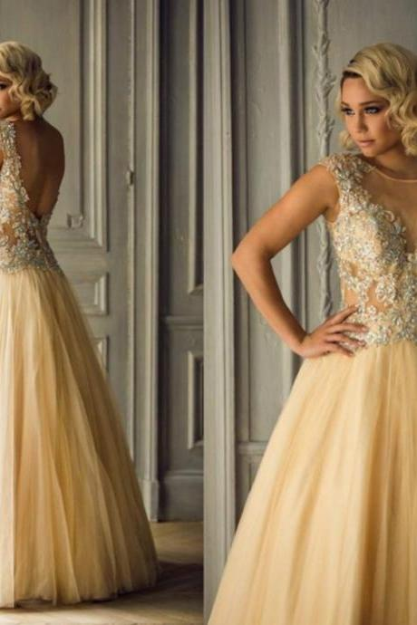 Ulass Champagne Tulle A-Line Long Prom Dress Lace 2016 Sexy Backless Luxury Crystal Prom Dress