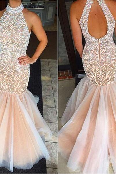 Ulass Charming Prom Dress,Halter Prom Dress,Mermaid Prom Dress, Beading Prom Dress,Halter Prom Dress
