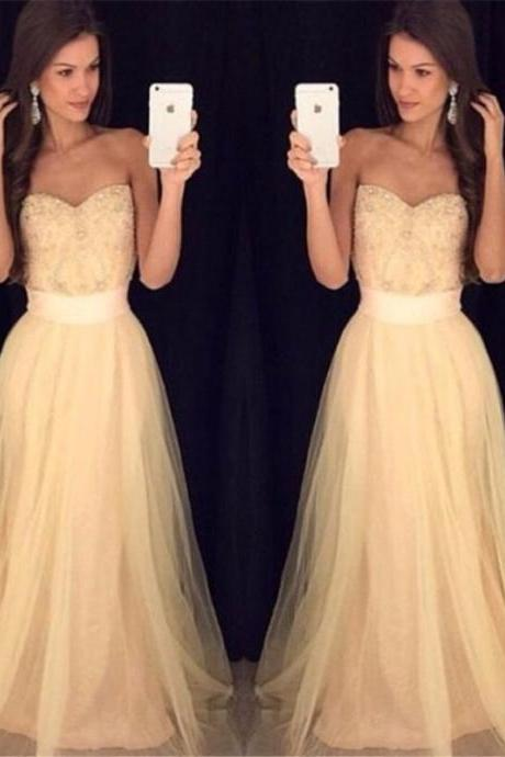 Ulass Simple Cheap Prom Dresses Tulle 2016 Sweetheart Lace Appliques Bodice Elegant Long Homecoming Dress