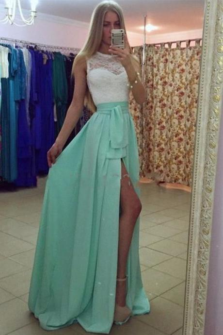 Ulass 2016 Sexy High Slit Prom Dress Aqua Green Long Chiffon Long Prom Gown High Neck Lace Bodice With Bow Sash