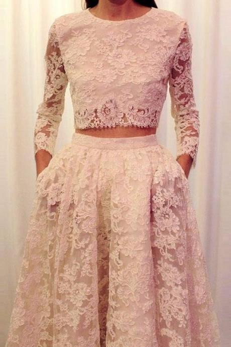 Ulass Fashionable 2016 2 Piece Prom Dresses Long Sleeve Lace White Prom Gowns vestidos de noche