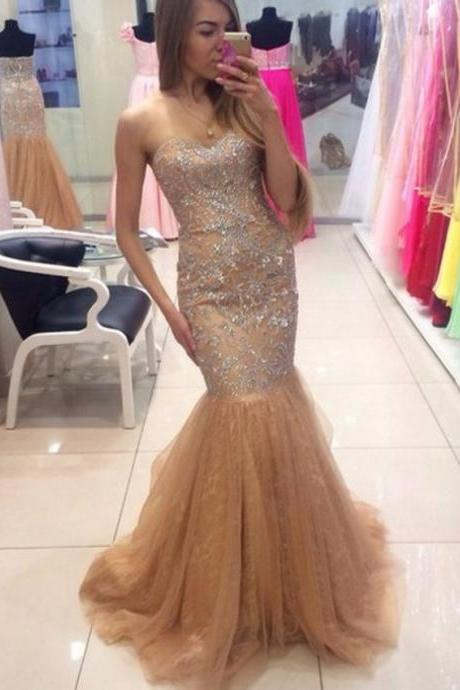 Ulass Long Elegant Mermaid Prom Dresses 2016 Sweetheart Beaded Tulle Champagne Prom Gowns