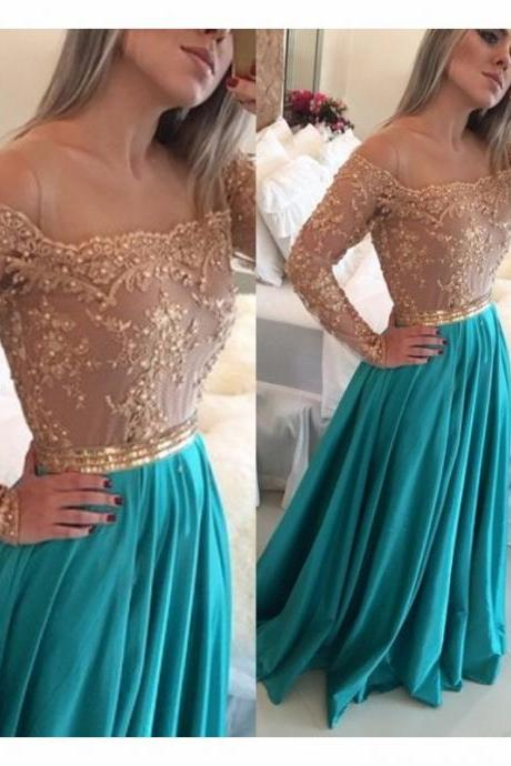 Ulass 2016 Long Sleeve Prom Dress Beading Appliques Bodice Chiffon Homecoming Prom Gowns New Design