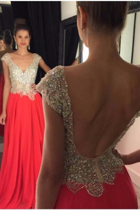 Ulass 2016 Backless Long Chiffon Prom Dress With Beaded Appliques Watermelon Graduation Gowns Cheap Party Dresses