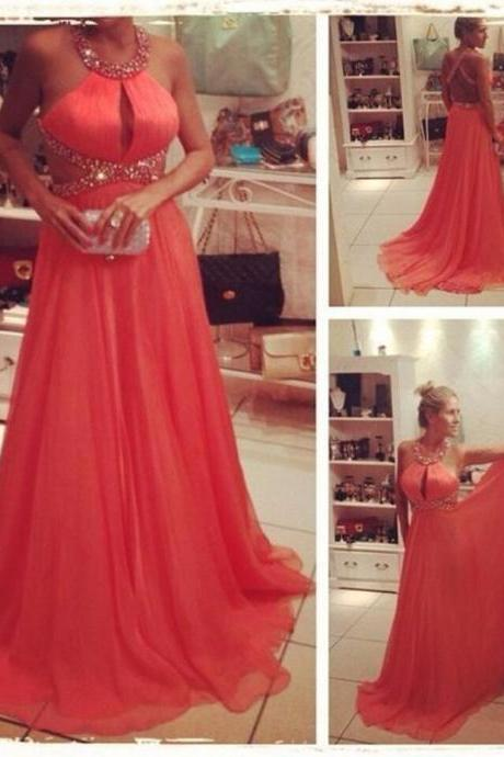 Ulass Fashionable Long Chiffon Prom Dresses Sexy Backless Beading Halter Elegant Women Party Gowns