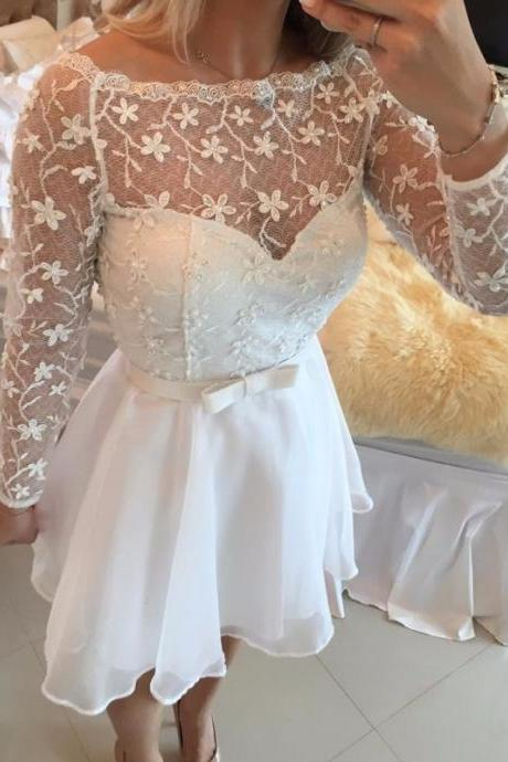 Ulass New Style Short Prom Dresses 2016 Long Sleeve White Graduated Dress Lace Illusion Neck Bow Sash