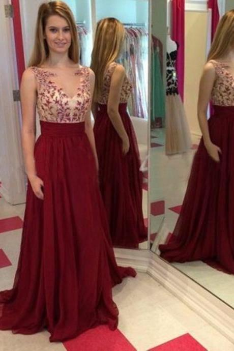Ulass 2016 New Style Burgundy Prom Dress Long Chiffon Homecoming Dresses Lace Appliques Bodice Cheap Party Gown