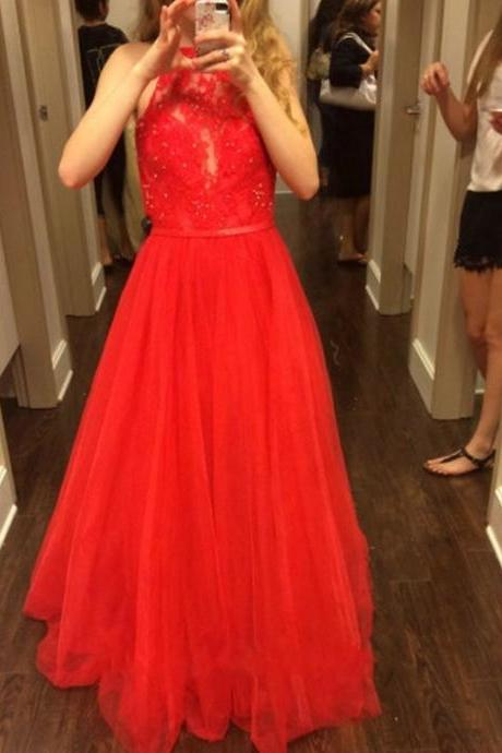 Ulass Long Red Chiffon Prom Dress 2016 A Line Halter Lace Beading Bodice Cheap