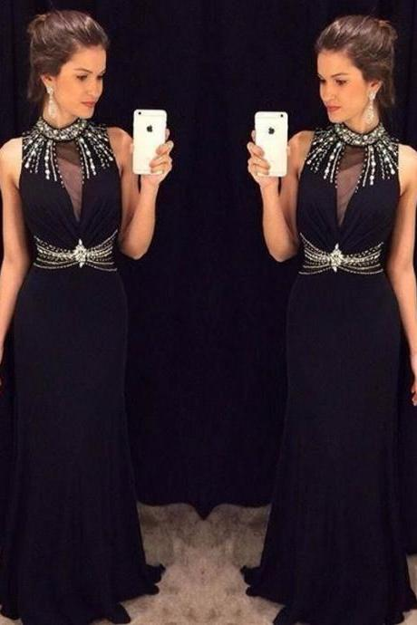 Ulass New Design Black Long Prom Dresses High Neck With Beads Mermaid Prom Gown 2016 vestidos de noche