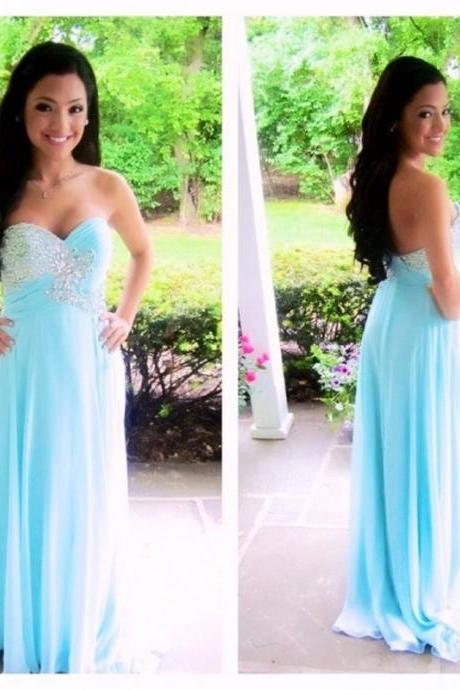 Ulass 2016 Light Blue Prom Dresses Long Sweetheart With Beads Ruched Bodice Sexy Backless