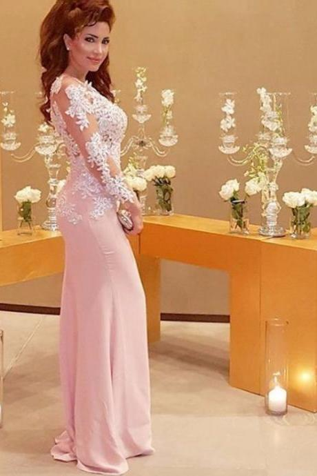 Ulass Pink Long Mermaid Prom Dresses Lace Appliques Long Sleeve vestidos de fiesta largos Backless