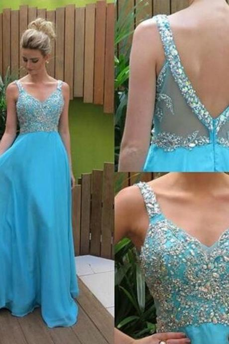 Ulass Vestidos De Festa A-Line V Neck Spaghetti Strap Prom Dresses 2016 Chiffon Long Blue Sheer Beaded Evening Gowns Custom made