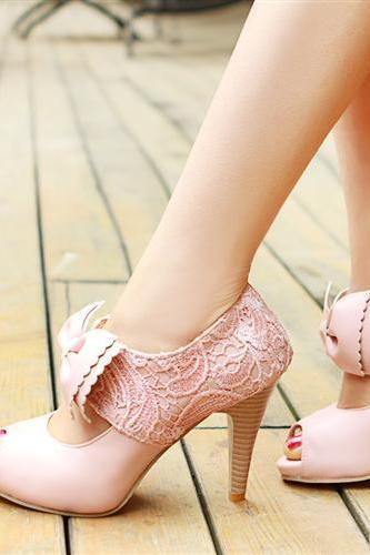 UlassSweet bow fish head high heels