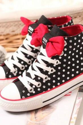 Ulass Dot bow flat shoes high-top shoes