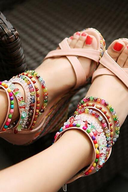 Multi-coloured Criss-Cross Wedge Sandals with Assorted Ankle Strap Beading