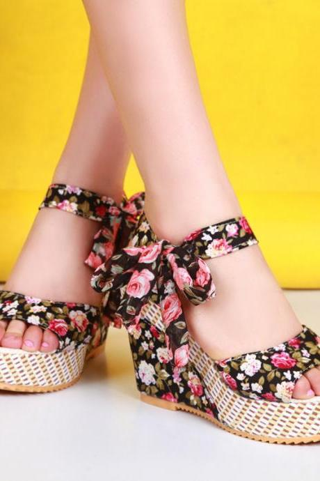 Ulass Floral shoes fish head high heels