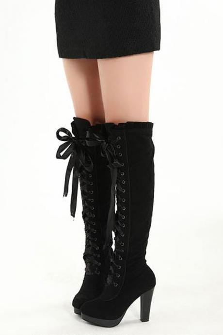 Ulass Sexy Boots,Cross Straps Knee High Boots,Thigh High Boots