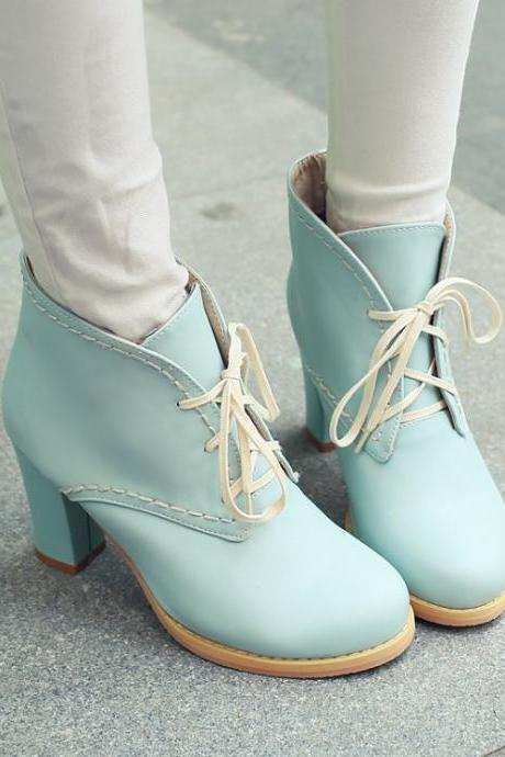 Ulass Pink Blue Beige Adorable Pastel Lace Up Chunky Heel Boots