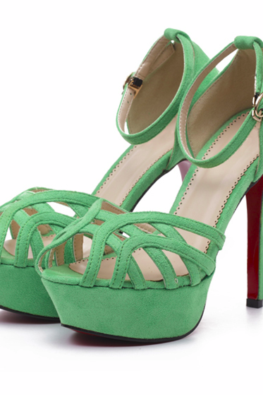 Ulass Black Pink Green Female high-heeled sandals with piscine mouth and stiletto heel