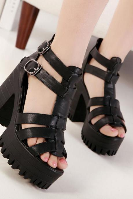 Ulass Black Thick with high-heeled rhinestone buckle decorated high-heeled sandals fish head