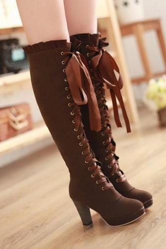 Women Woimen Boots High Heels Knee High Boots Sexy Platform Boots Lace Up Zipper Long Ladies Shoes Black Brown Small Size 34-39