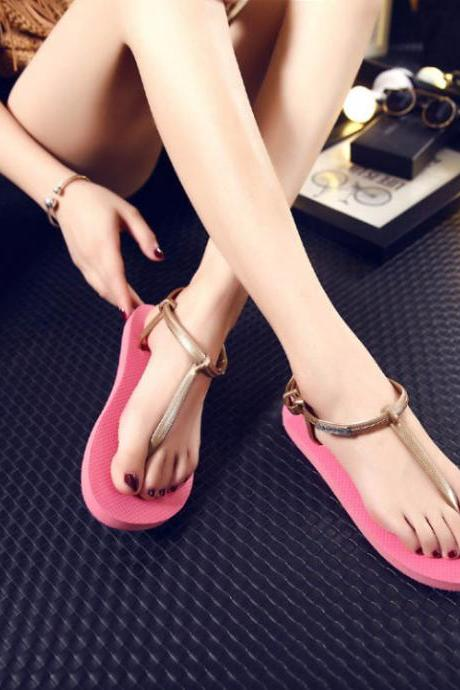 Ulass sandals women, Roman sandals, women flat sandals and slippers, T-clip slippers, summer beach flip sandals ST-009