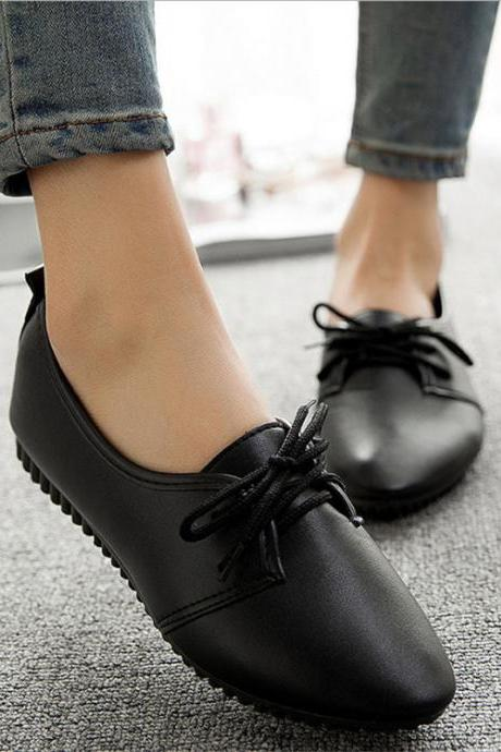 Ulass Women casual shoes 2016 spring and summer shoes flat shoes wild pure light color mouth female shoes sapato feminino ST-010