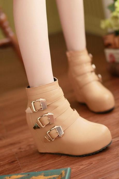 Ulass New arrival Spring Autumn Fashion Casual Women's Wedge boots Buckle Round Toe Black White Beige Women boots ST-031