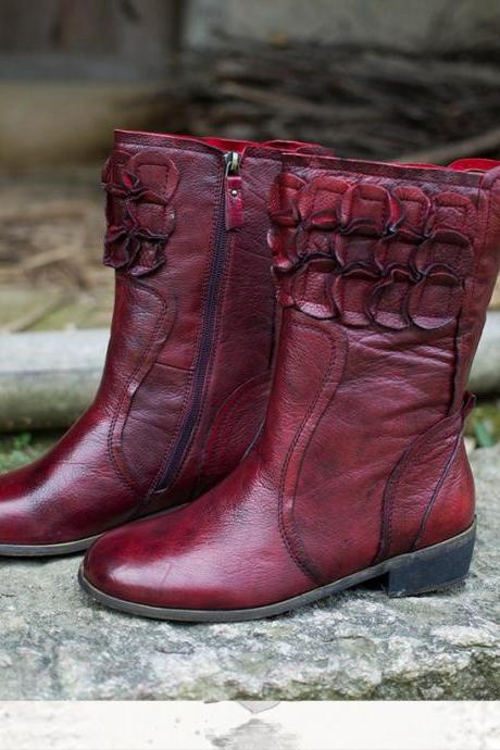 Ulass 2016 New Arrival Winter Women Flat Boots Retro Style Full Grain Leather Knight Boots Mid-calf Boots for Women ST-057