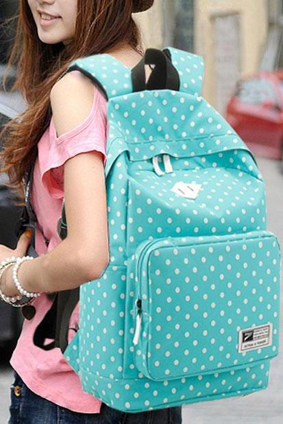 Ulass Nice Preppy Style Polka Dot Canvas Backpack-BB-7