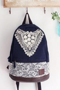 Ulass Nice Hollow Blue Lace Backpack-BB-8
