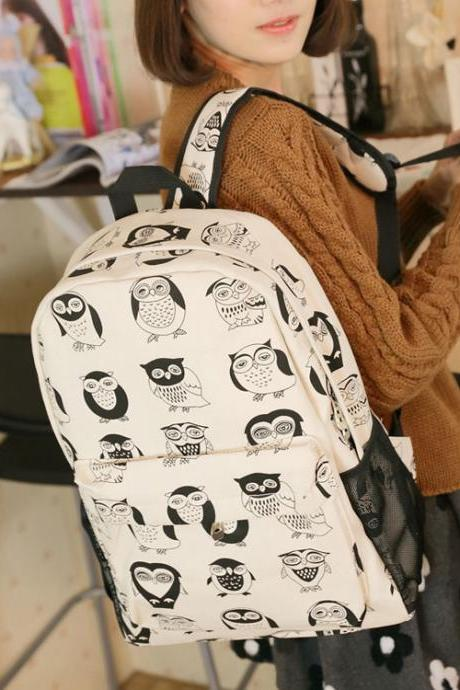 Ulass Cute Cartoon Owl Canvas Backpack-BB-10