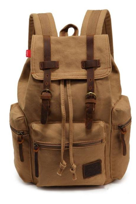 Ulass Retro Brown Scrub Travelling Canvas Backpack-BB-25