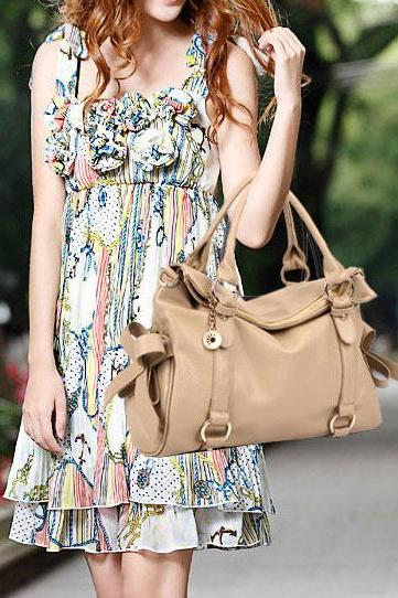 Ulass Fashion Cream Bow Temperament Handbag-BB-32