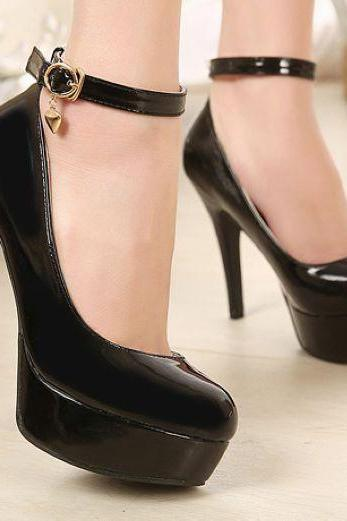 Round Toe Patent Leather Stiletto Pumps with Ankle Strap Adorned with Delicate Charm - Black, Apricot