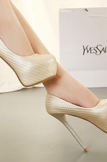 Ulass Elegant Peep Toe Stiletto High Heel Gold Pumps