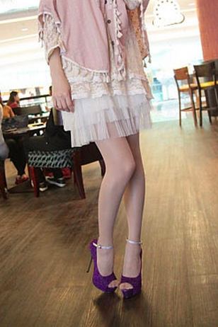 Ulass Party Wear White Ankle Strappy Peep Toe High Platform Stiletto Dress Shoes