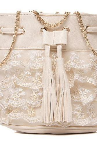 Tiered Lace Bucket Bag with Tassels