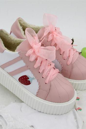 Ulass 2 Colors Lolita Kawaii Strawberry Shoes ST-069