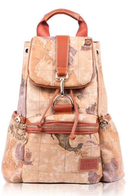 UlassVintage World Map Leisure Backpacks BB-41